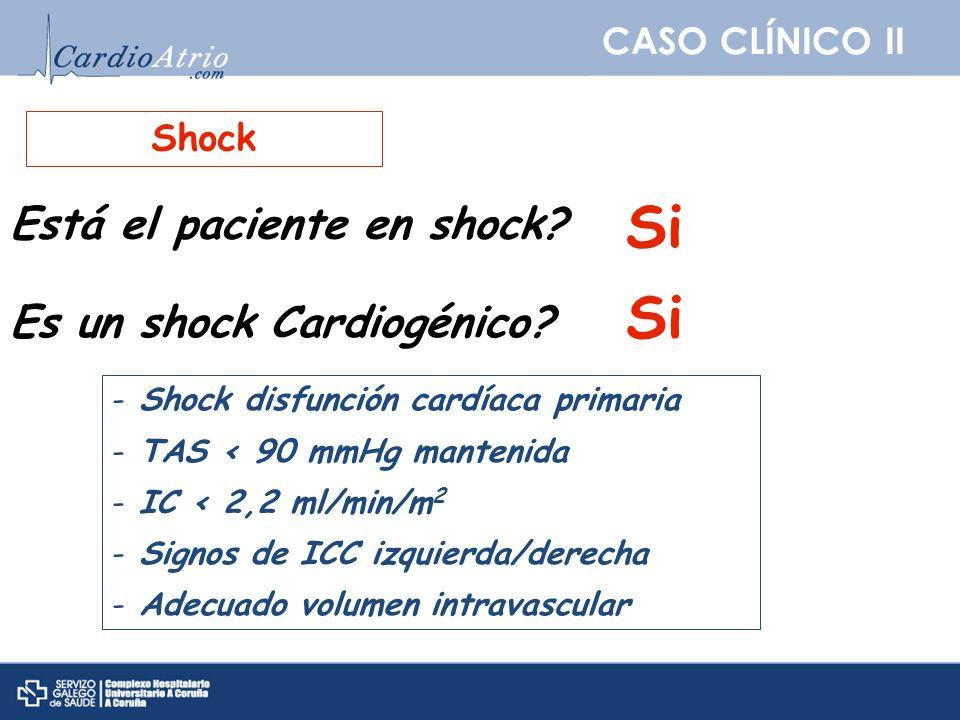 CASO CLÍNICO II Shock Está el paciente en shock? Si Es un shock Cardiogénico? Si - Shock disfunción cardíaca primaria - TAS < 90 mmHg mantenida - IC <