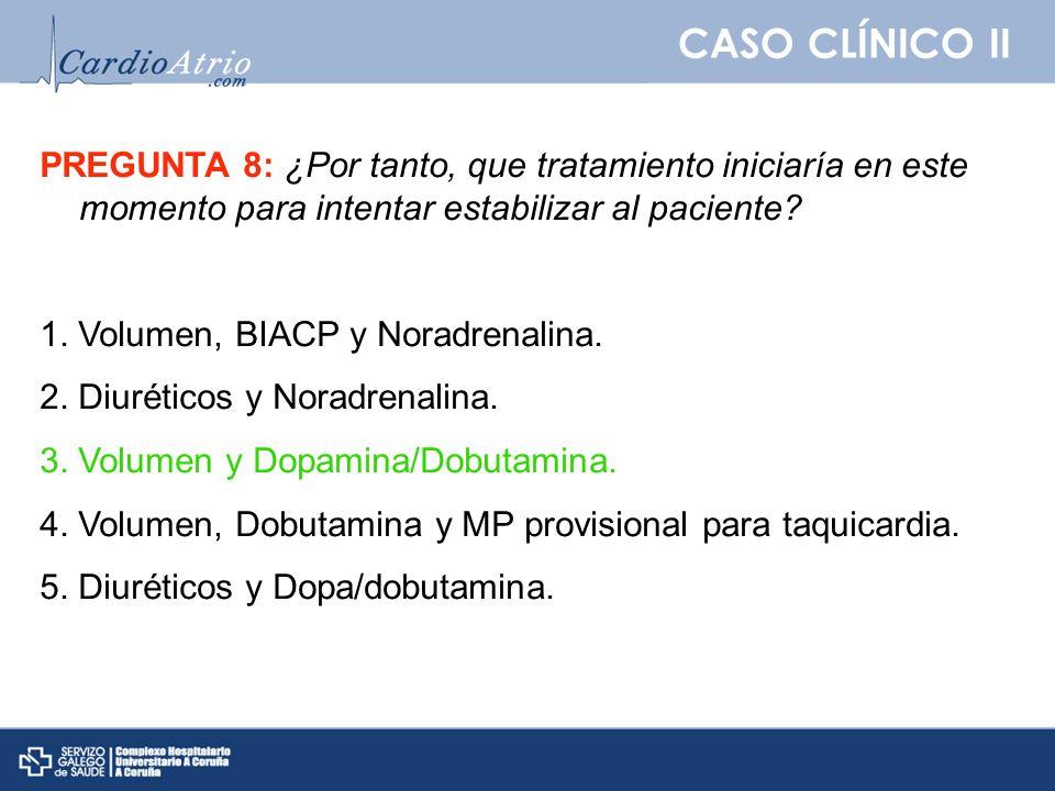 CASO CLÍNICO II PREGUNTA 8: ¿Por tanto, que tratamiento iniciaría en este momento para intentar estabilizar al paciente? 1. Volumen, BIACP y Noradrena