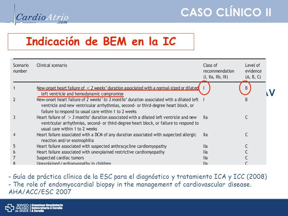 CASO CLÍNICO II Indicación de BEM en la IC - Guía de práctica clínica de la ESC para el diagnóstico y tratamiento ICA y ICC (2008) - The role of endom