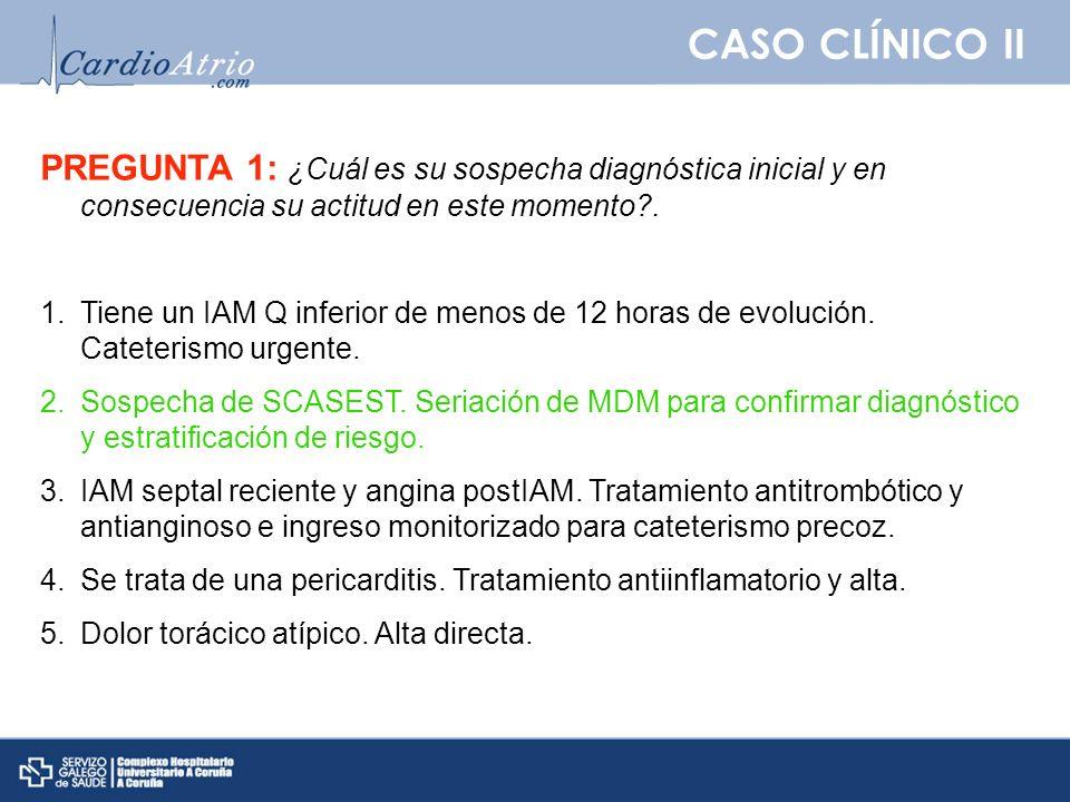 CASO CLÍNICO II Técnicas de imagen en el diagnóstico de IM Ecocardiograma.