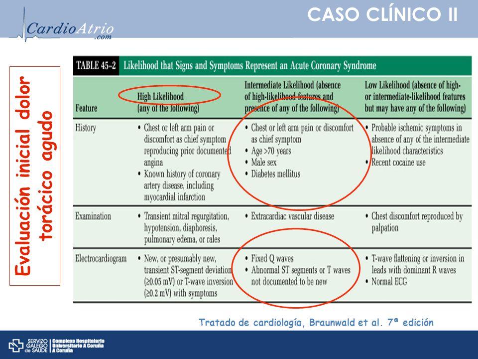 CASO CLÍNICO II Tratado de cardiología, Braunwald et al. 7ª edición Evaluación inicial dolor torácico agudo