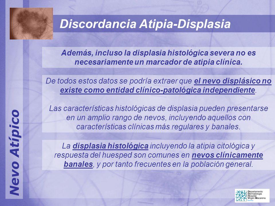 Nevo Atípico Además, incluso la displasia histológica severa no es necesariamente un marcador de atipia clínica. De todos estos datos se podría extrae