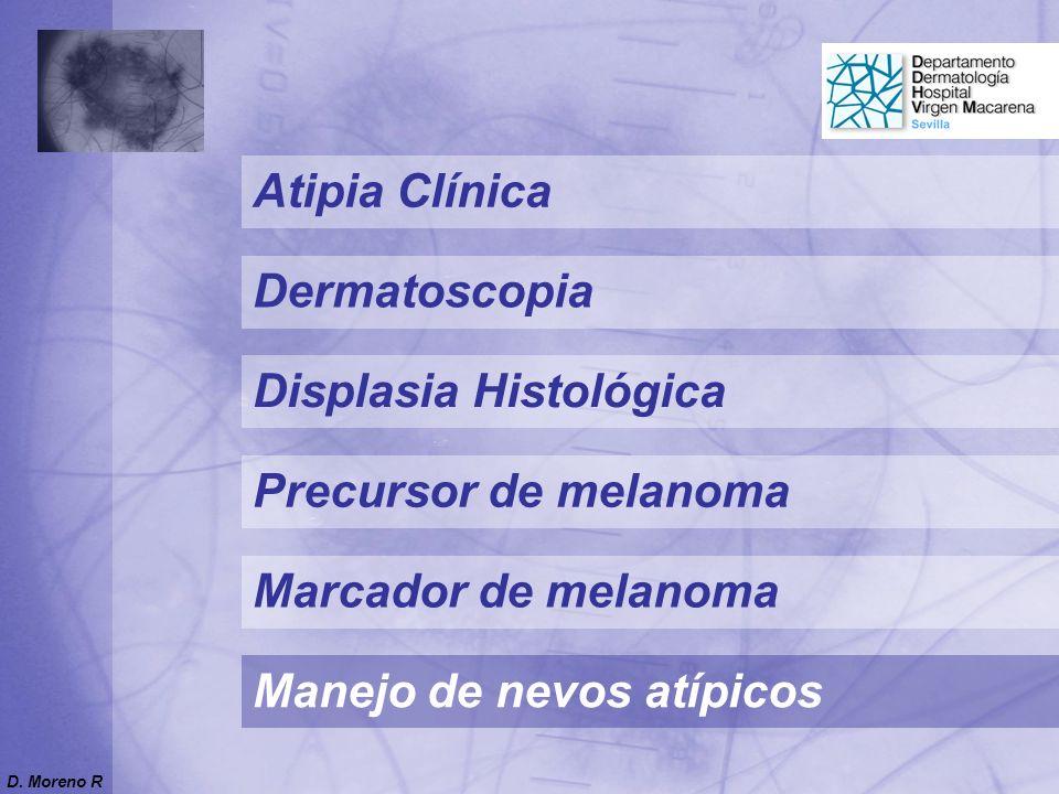 Precursor de melanoma Marcador de melanoma Atipia Clínica Displasia Histológica Manejo de nevos atípicos Dermatoscopia D. Moreno R