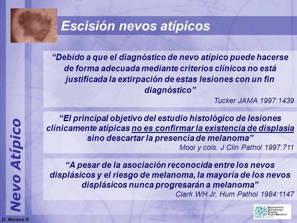 Nevo Atípico Escisión nevos atípicos Debido a que el diagnóstico de nevo atípico puede hacerse de forma adecuada mediante criterios clínicos no está j