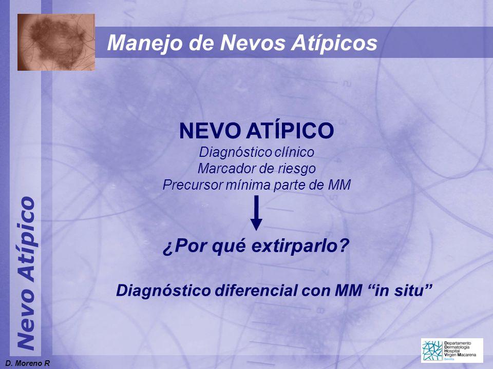 Nevo Atípico NEVO ATÍPICO Diagnóstico clínico Marcador de riesgo Precursor mínima parte de MM ¿Por qué extirparlo? Diagnóstico diferencial con MM in s