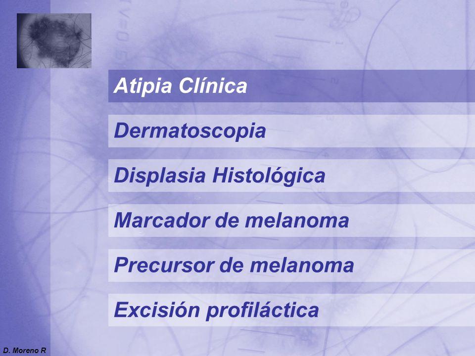 Precursor de melanoma Marcador de melanoma Atipia Clínica Displasia Histológica Excisión profiláctica Dermatoscopia D. Moreno R