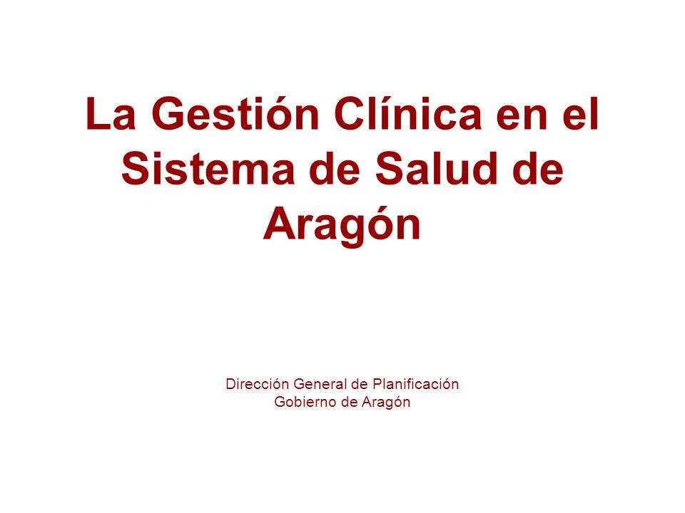 La Gestión Clínica en el Sistema de Salud de Aragón Dirección General de Planificación Gobierno de Aragón