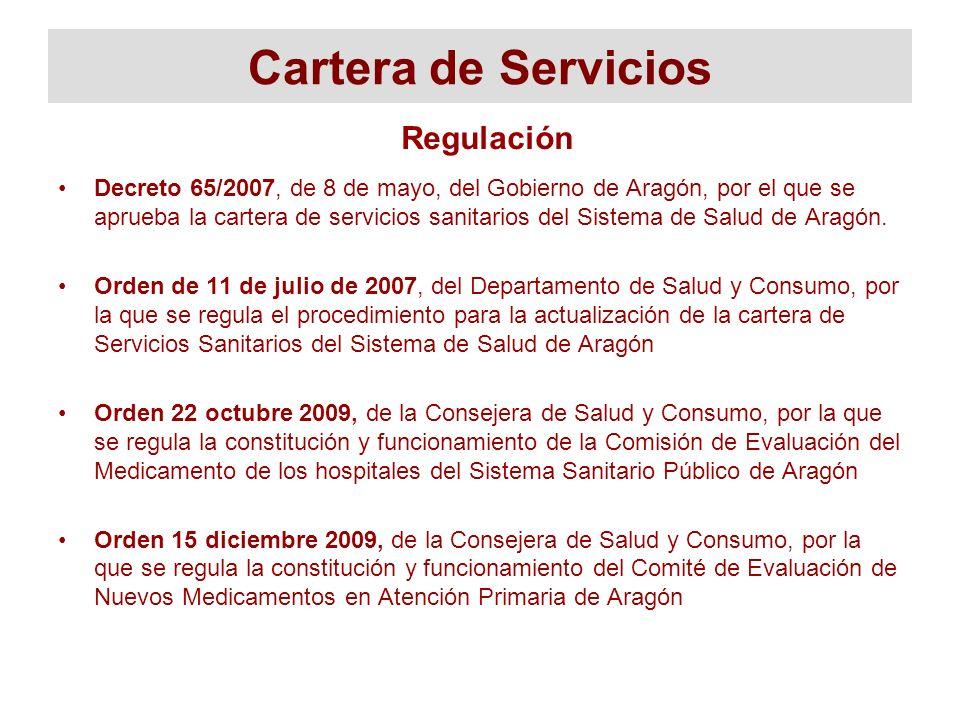 Cartera de Servicios Decreto 65/2007, de 8 de mayo, del Gobierno de Aragón, por el que se aprueba la cartera de servicios sanitarios del Sistema de Sa