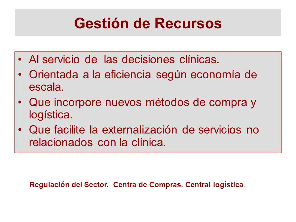 Gestión de Recursos Al servicio de las decisiones clínicas. Orientada a la eficiencia según economía de escala. Que incorpore nuevos métodos de compra