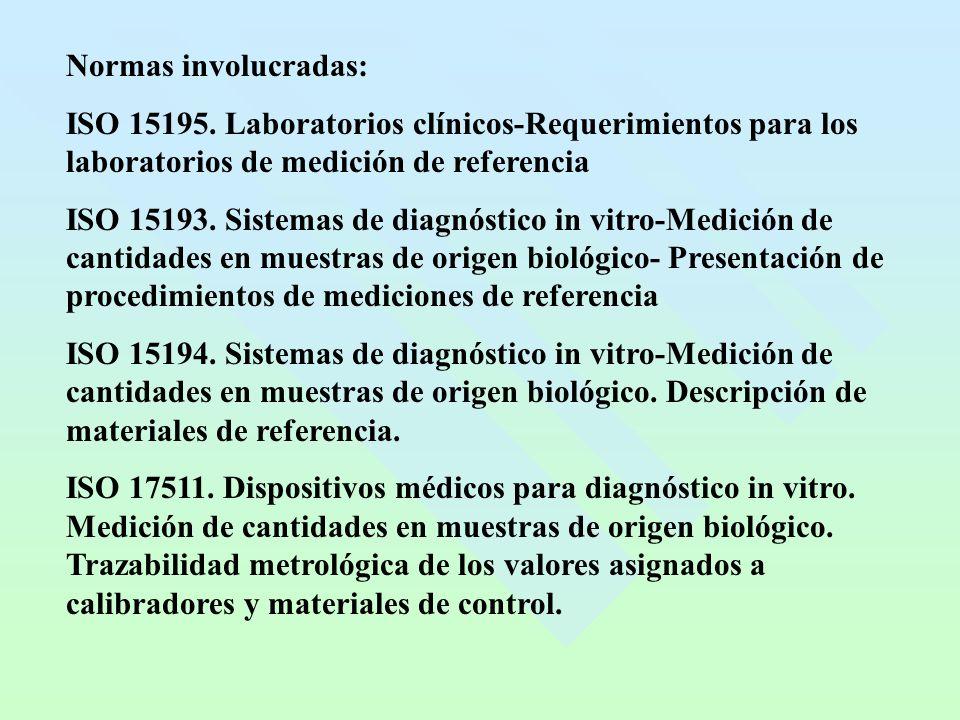 Normas involucradas: ISO 15195. Laboratorios clínicos-Requerimientos para los laboratorios de medición de referencia ISO 15193. Sistemas de diagnóstic