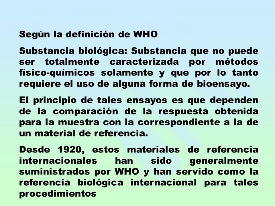 Según la definición de WHO Substancia biológica: Substancia que no puede ser totalmente caracterizada por métodos físico-químicos solamente y que por lo tanto requiere el uso de alguna forma de bioensayo.