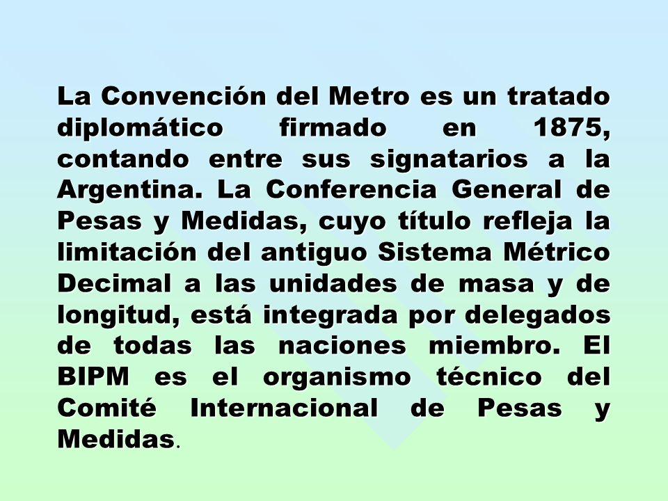 La Convención del Metro es un tratado diplomático firmado en 1875, contando entre sus signatarios a la Argentina. La Conferencia General de Pesas y Me