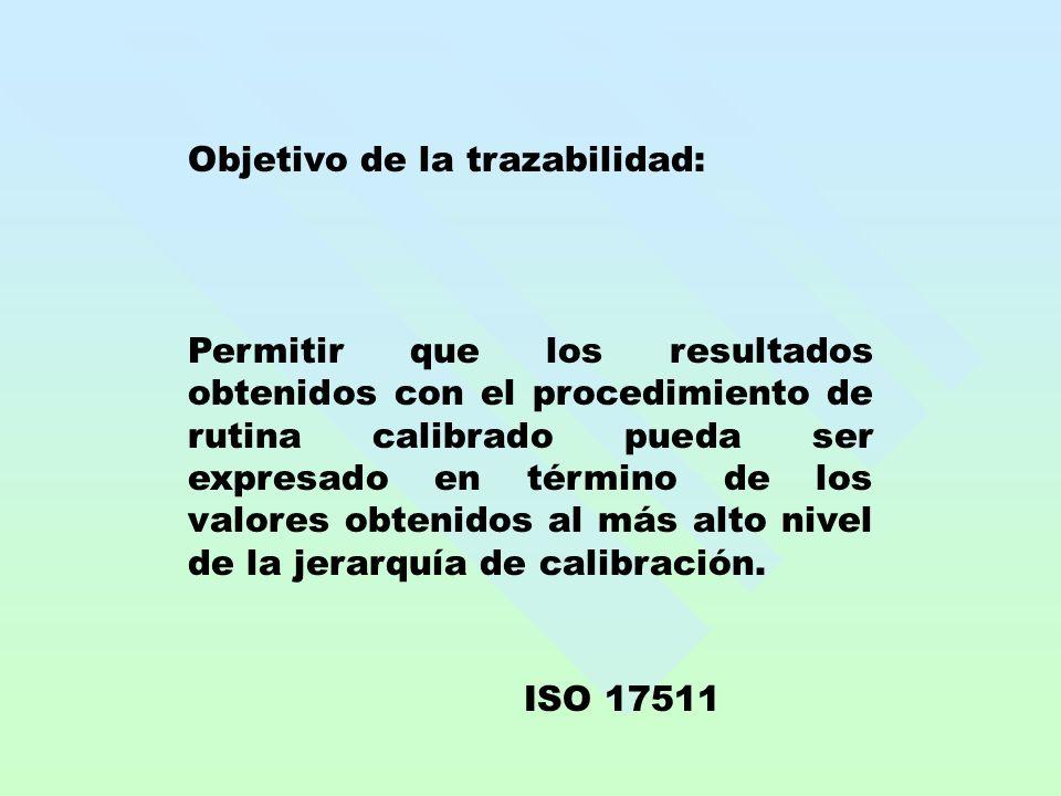 Objetivo de la trazabilidad: Permitir que los resultados obtenidos con el procedimiento de rutina calibrado pueda ser expresado en término de los valo