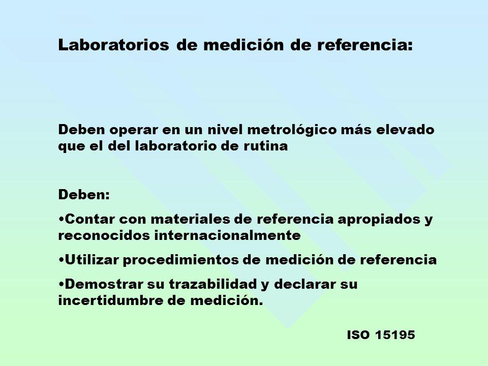 Laboratorios de medición de referencia: Deben operar en un nivel metrológico más elevado que el del laboratorio de rutina Deben: Contar con materiales