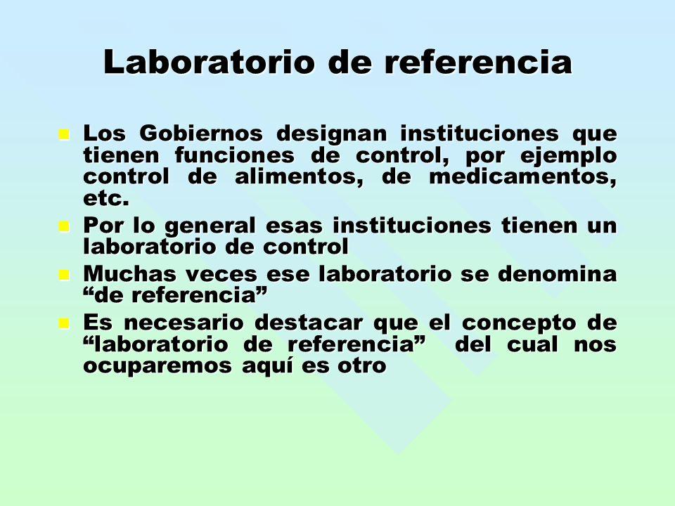 Laboratorio de referencia Los Gobiernos designan instituciones que tienen funciones de control, por ejemplo control de alimentos, de medicamentos, etc