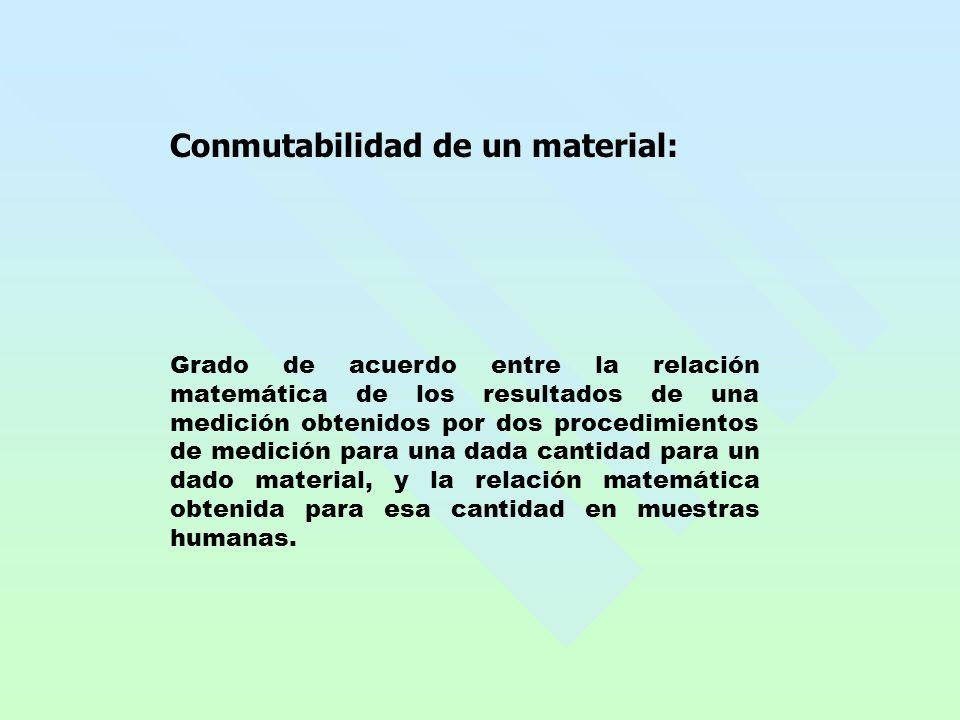 Conmutabilidad de un material: Grado de acuerdo entre la relación matemática de los resultados de una medición obtenidos por dos procedimientos de med