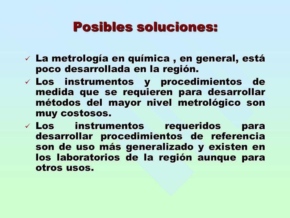 Posibles soluciones: La metrología en química, en general, está poco desarrollada en la región. La metrología en química, en general, está poco desarr