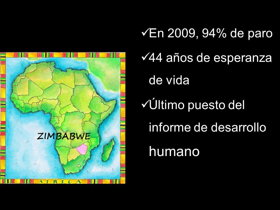 En 2009, 94% de paro 44 años de esperanza de vida Último puesto del informe de desarrollo humano