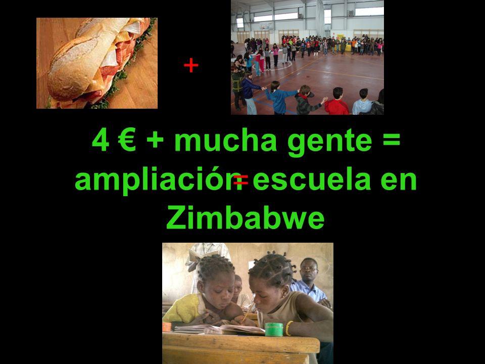4 + mucha gente = ampliación escuela en Zimbabwe + =