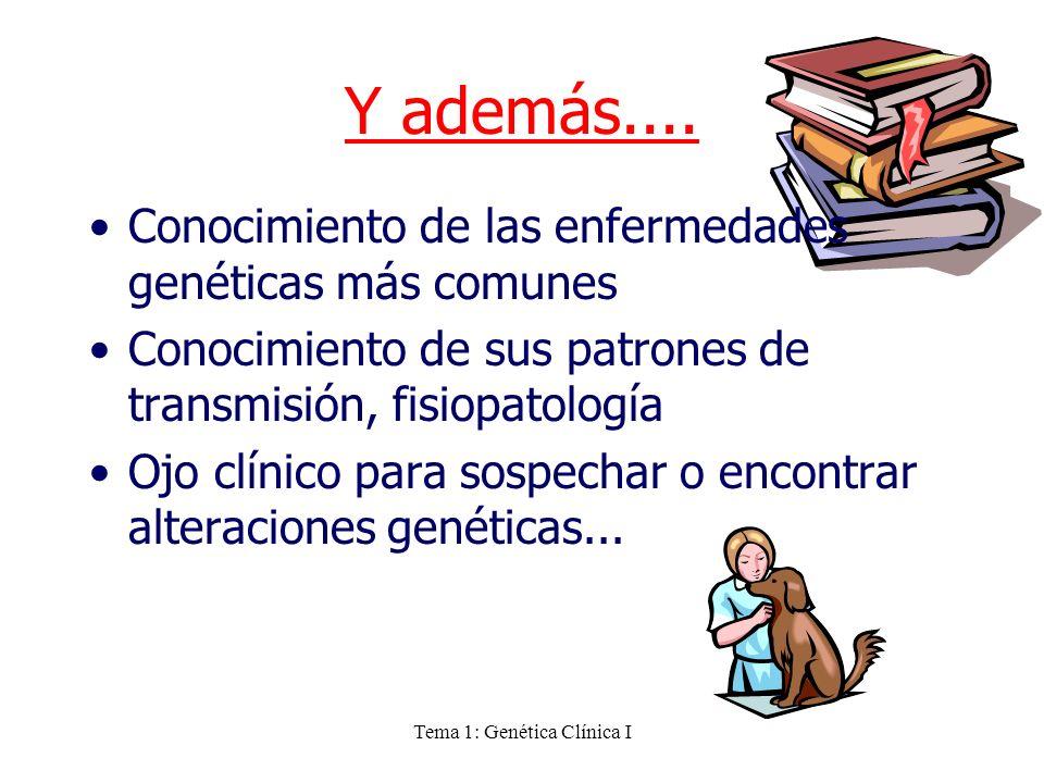 Tema 1: Genética Clínica I Y además.... Conocimiento de las enfermedades genéticas más comunes Conocimiento de sus patrones de transmisión, fisiopatol