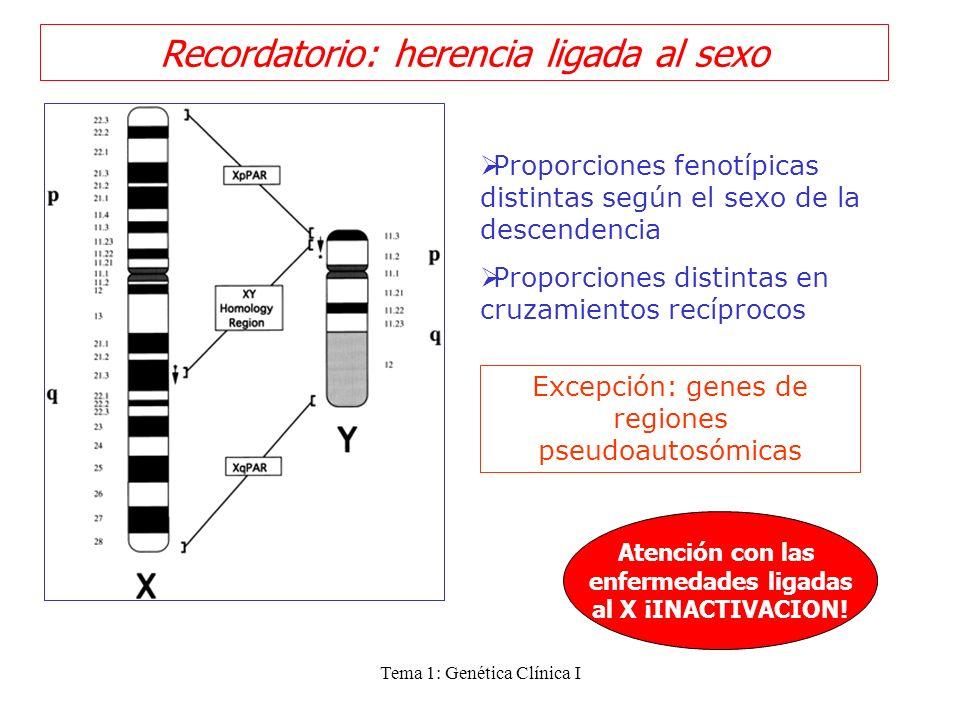 Tema 1: Genética Clínica I Recordatorio: herencia ligada al sexo Proporciones fenotípicas distintas según el sexo de la descendencia Proporciones dist