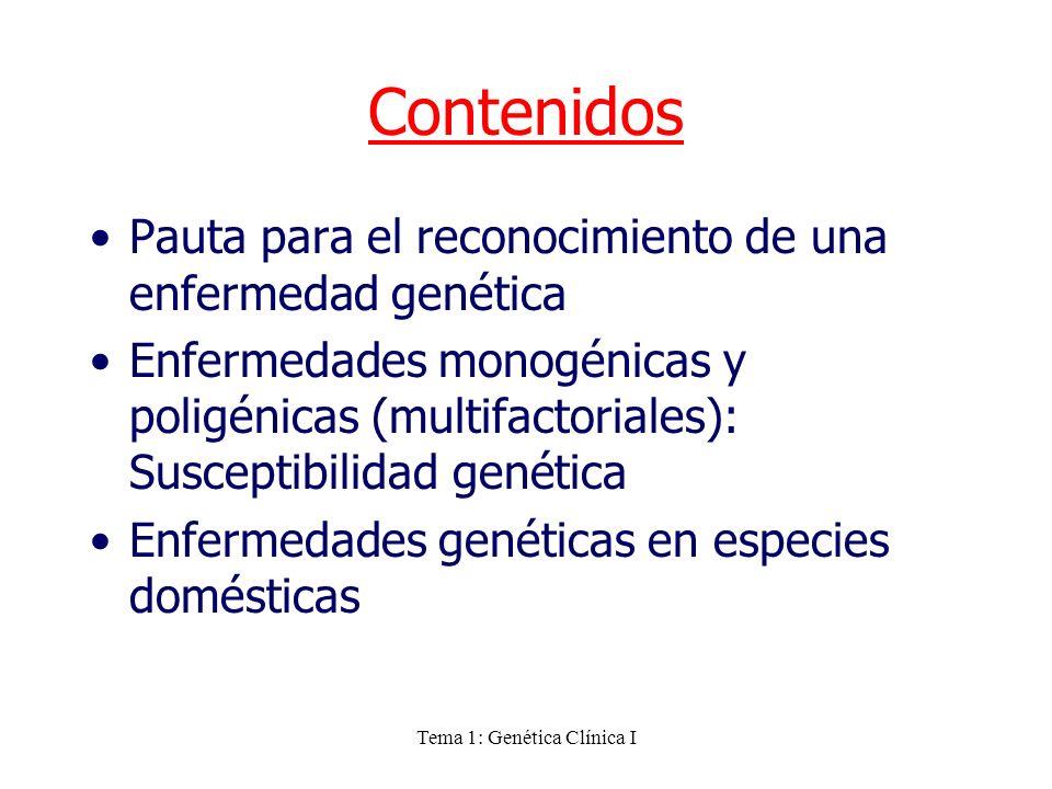 Tema 1: Genética Clínica I Contenidos Pauta para el reconocimiento de una enfermedad genética Enfermedades monogénicas y poligénicas (multifactoriales
