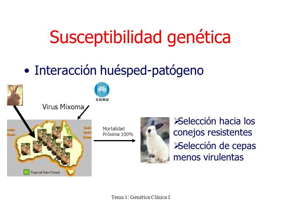 Tema 1: Genética Clínica I Susceptibilidad genética Interacción huésped-patógeno Selección hacia los conejos resistentes Selección de cepas menos viru