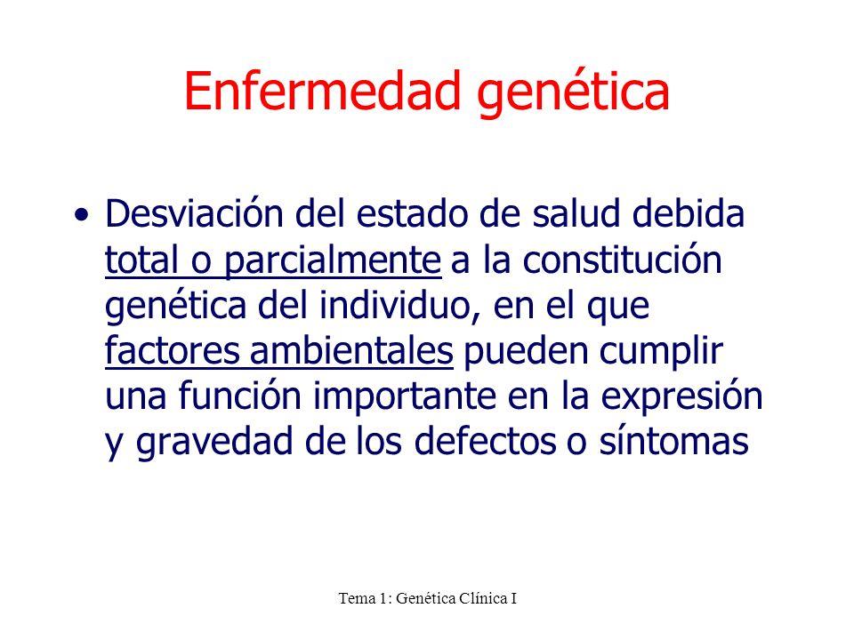 Tema 1: Genética Clínica I Enfermedad genética Desviación del estado de salud debida total o parcialmente a la constitución genética del individuo, en