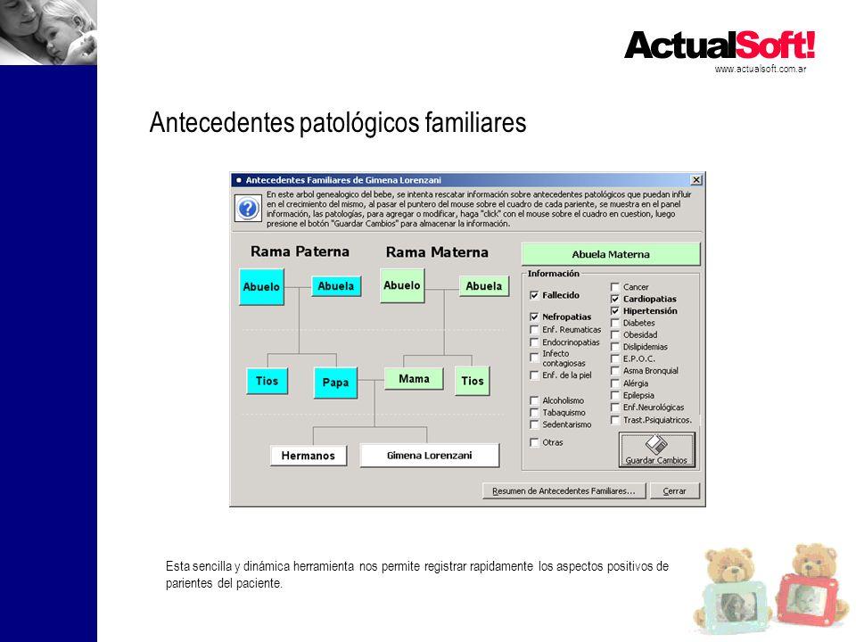 www.actualsoft.com.ar Antecedentes patológicos familiares Esta sencilla y dinámica herramienta nos permite registrar rapidamente los aspectos positivos de parientes del paciente.