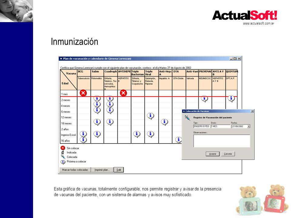 www.actualsoft.com.ar Inmunización Esta gráfica de vacunas, totalmente configurable, nos permite registrar y avisar de la presencia de vacunas del paciente, con un sistema de alarmas y avisos muy sofisticado.