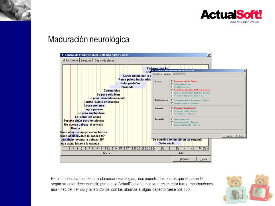 www.actualsoft.com.ar Maduración neurológica Esta ficha evaluativa de la maduración neurológica, nos muestra las pautas que el paciente, según su edad debe cumplir, por lo cual ActualPediatric.