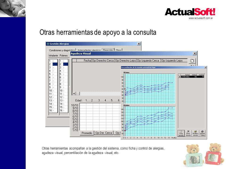 www.actualsoft.com.ar Otras herramientas de apoyo a la consulta Otras herramientas acompañan a la gestión del sistema, como ficha y control de alergias, agudeza visual, percentilación de la agudeza visual, etc.