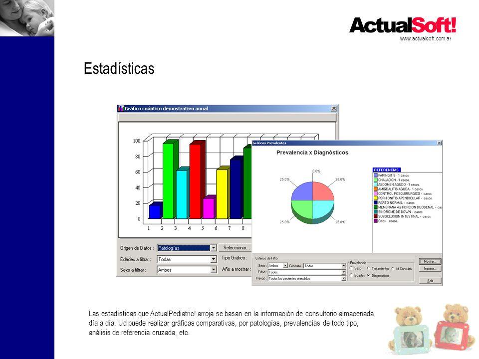 www.actualsoft.com.ar Estadísticas Las estadísticas que ActualPediatric! arroja se basan en la información de consultorio almacenada día a día, Ud pue