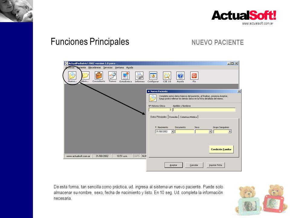 NUEVO PACIENTE www.actualsoft.com.ar Funciones Principales De esta forma, tan sencilla como práctica, ud.