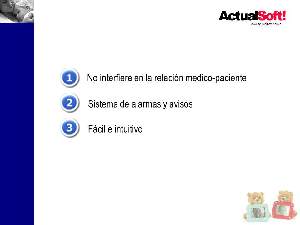 No interfiere en la relación medico-paciente Sistema de alarmas y avisos Fácil e intuitivo www.actualsoft.com.ar