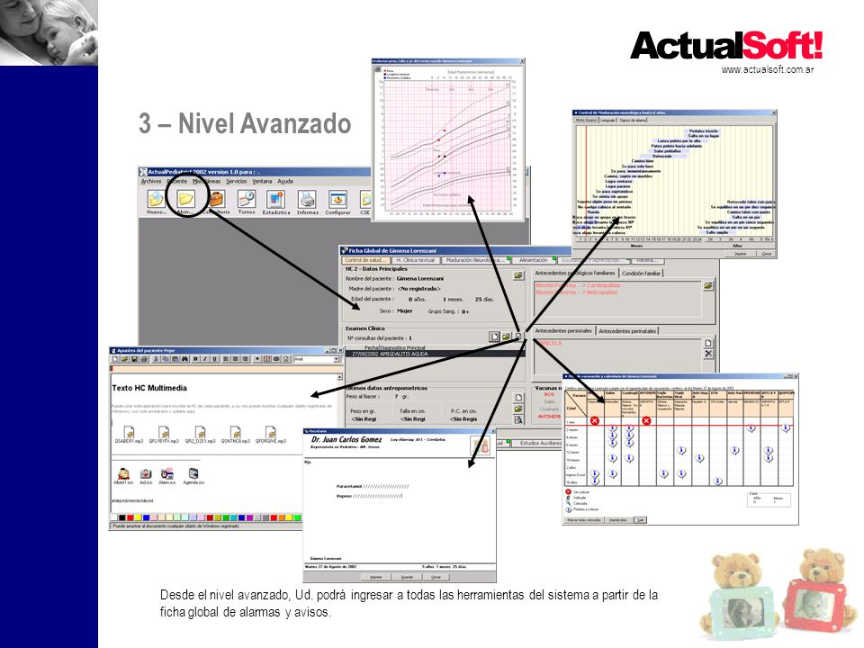 www.actualsoft.com.ar Desde el nivel avanzado, Ud. podrá ingresar a todas las herramientas del sistema a partir de la ficha global de alarmas y avisos