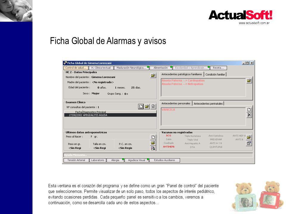 www.actualsoft.com.ar Ficha Global de Alarmas y avisos Esta ventana es el corazón del programa y se define como un gran Panel de control del paciente que seleccionemos.