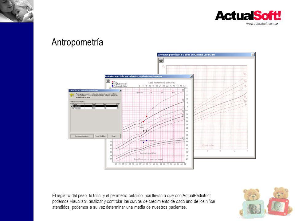 www.actualsoft.com.ar Antropometría El registro del peso, la talla, y el perímetro cefálico, nos llevan a que con ActualPediatric! podemos visualizar,