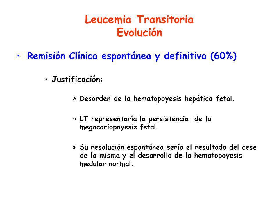 Leucemia Transitoria Evolución Remisión Clínica espontánea y definitiva (60%) Justificación: »Desorden de la hematopoyesis hepática fetal.