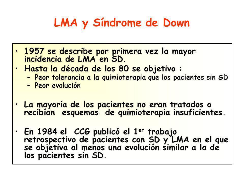 LMA y Síndrome de Down 1957 se describe por primera vez la mayor incidencia de LMA en SD.