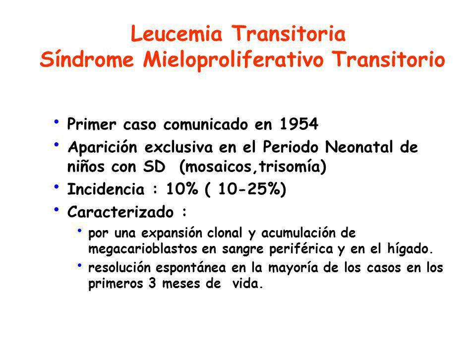 Primer caso comunicado en 1954 Aparición exclusiva en el Periodo Neonatal de niños con SD (mosaicos,trisomía) Incidencia : 10% ( 10-25%) Caracterizado : por una expansión clonal y acumulación de megacarioblastos en sangre periférica y en el hígado.