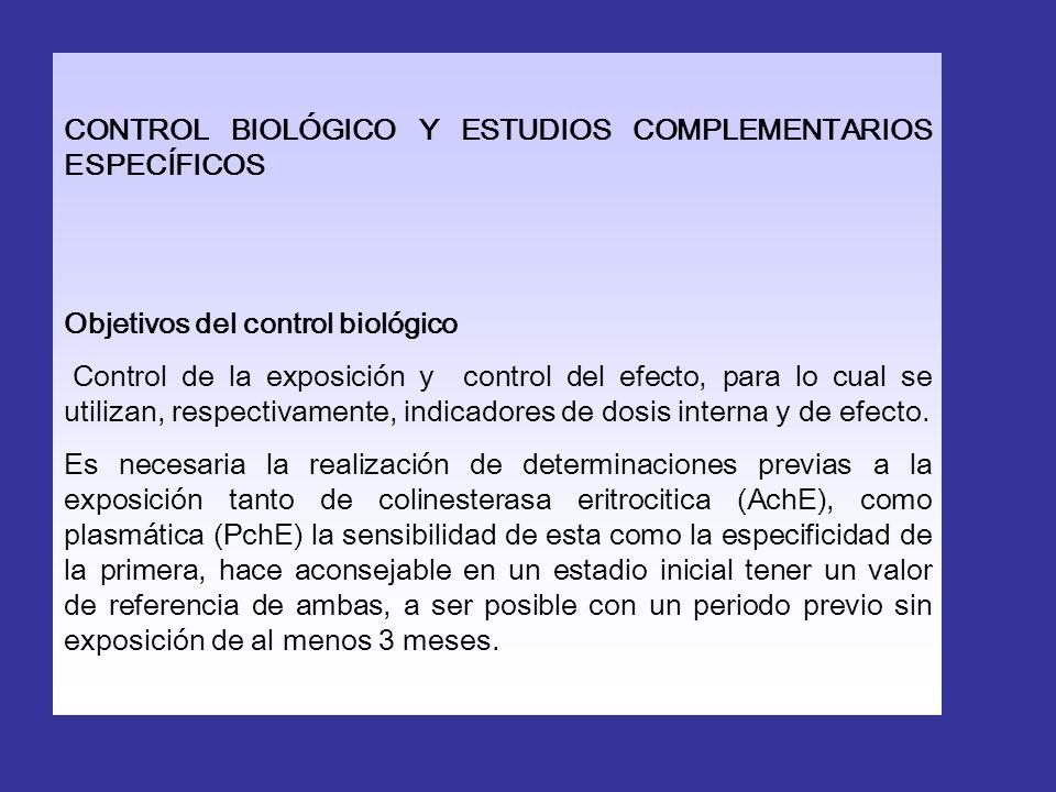 CONTROL BIOLÓGICO Y ESTUDIOS COMPLEMENTARIOS ESPECÍFICOS Objetivos del control biológico Control de la exposición y control del efecto, para lo cual s