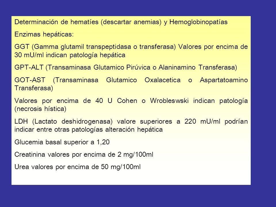 Determinación de hematíes (descartar anemias) y Hemoglobinopatías Enzimas hepáticas: GGT (Gamma glutamil transpeptidasa o transferasa) Valores por enc