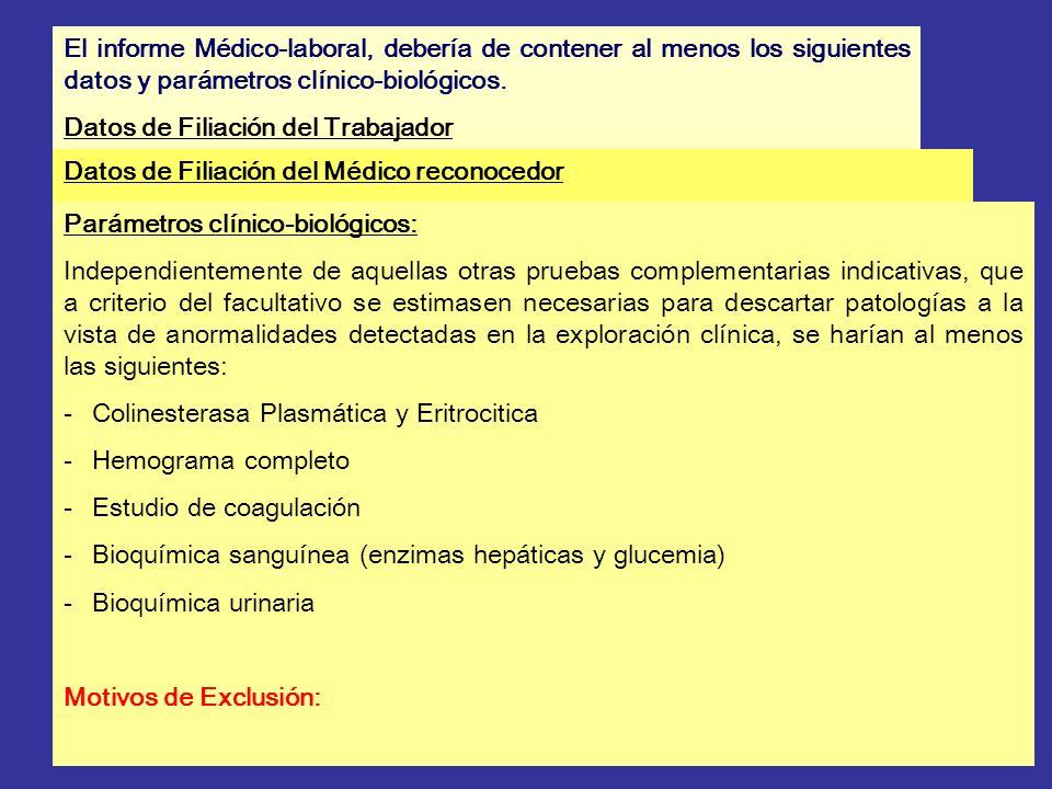 El informe Médico-laboral, debería de contener al menos los siguientes datos y parámetros clínico-biológicos. Datos de Filiación del Trabajador - Nomb