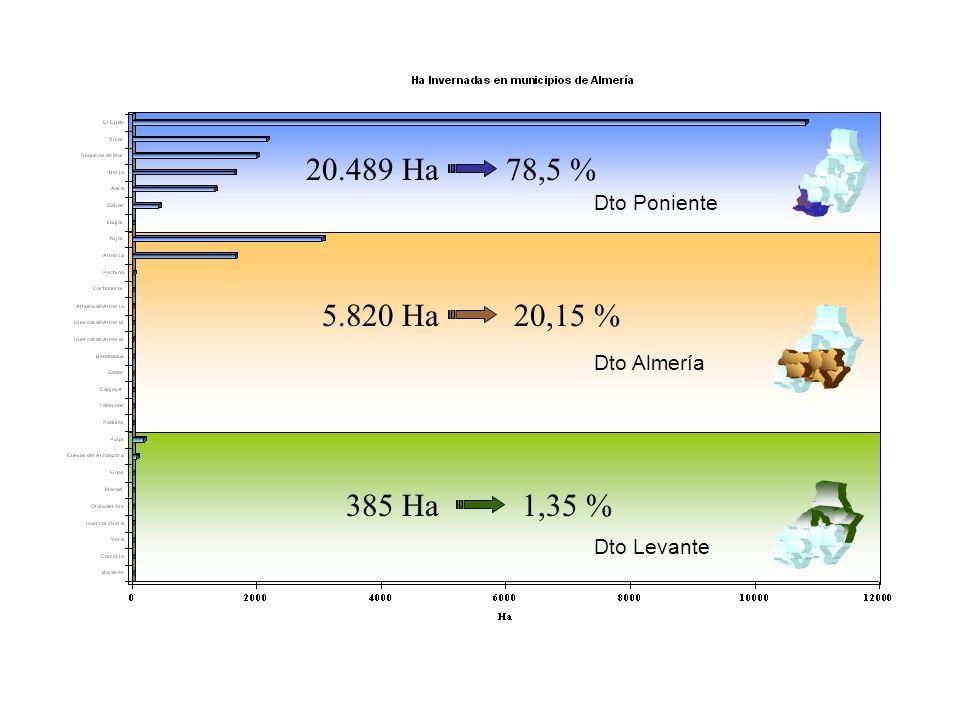 Dto Poniente Dto Levante Dto Almería 20.489 Ha78,5 % 5.820 Ha20,15 % 385 Ha1,35 %