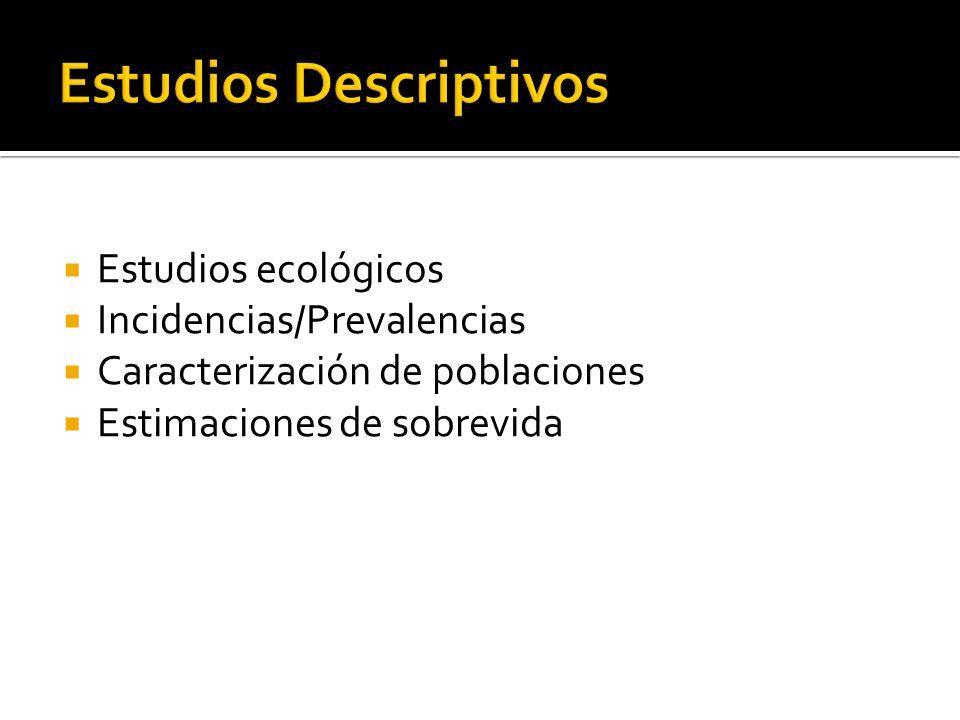 Estudios ecológicos Incidencias/Prevalencias Caracterización de poblaciones Estimaciones de sobrevida
