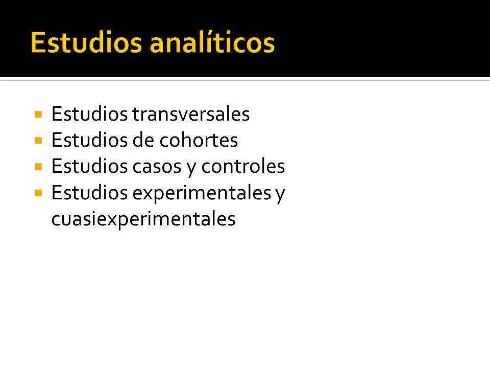 Estudios transversales Estudios de cohortes Estudios casos y controles Estudios experimentales y cuasiexperimentales