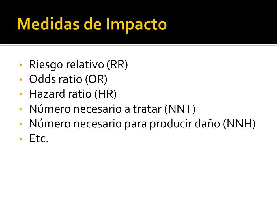 Riesgo relativo (RR) Odds ratio (OR) Hazard ratio (HR) Número necesario a tratar (NNT) Número necesario para producir daño (NNH) Etc.