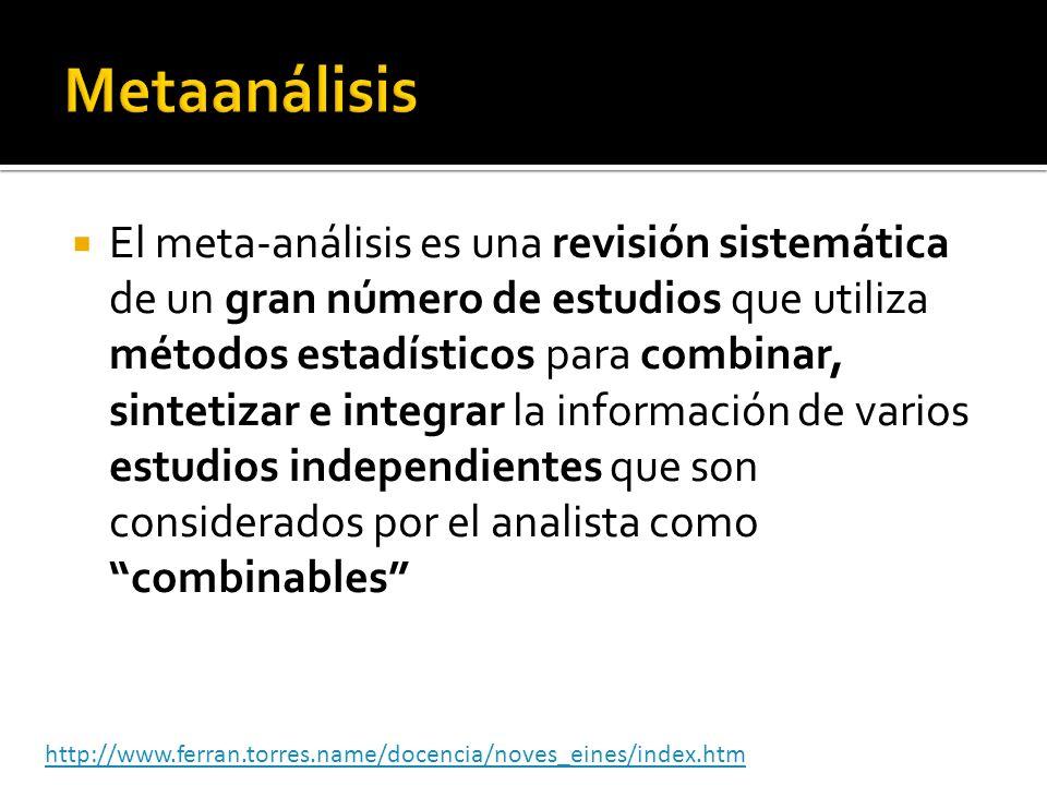 El meta-análisis es una revisión sistemática de un gran número de estudios que utiliza métodos estadísticos para combinar, sintetizar e integrar la in