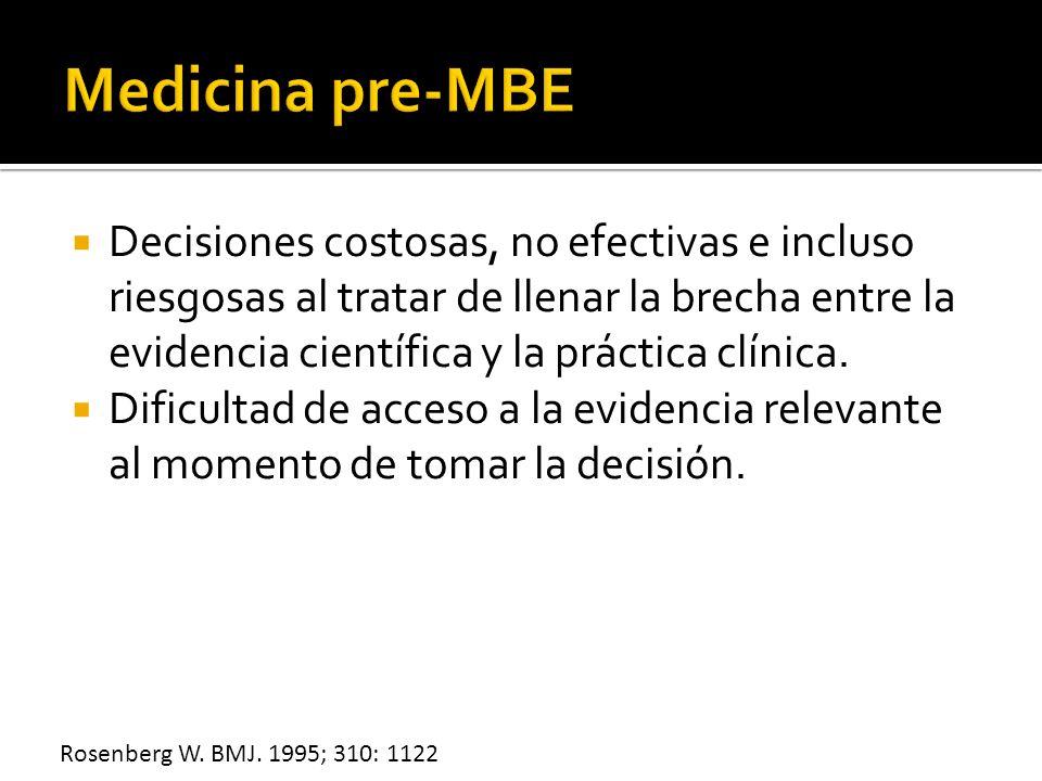 Decisiones costosas, no efectivas e incluso riesgosas al tratar de llenar la brecha entre la evidencia científica y la práctica clínica. Dificultad de
